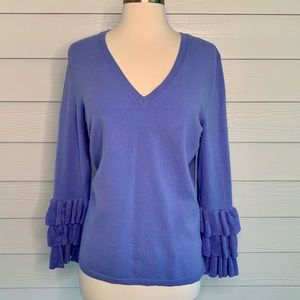 525 America V-Neck Sweater with Ruffled Sleeves